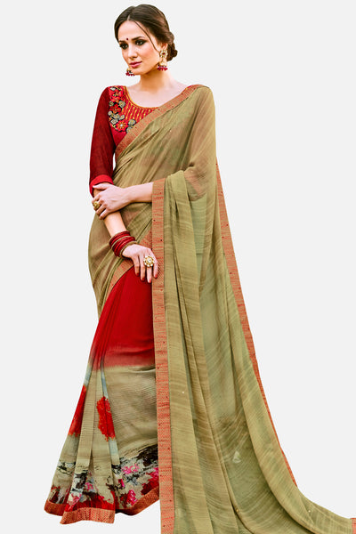Half n Half Party Wear Saree:atisundar divine Embroidered Party Wear Saree with Embroidered Blouse in Mehndi Green  - 15323 - click to zoom