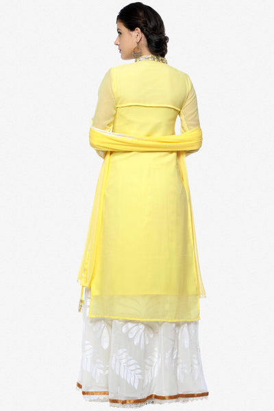 Designer Straight Cut:atisundar graceful Yellow Designer Embroidered Party Wear Straight Cut In Faux Georgette Featuring Heena Khan-Akashra - 11577 - click to zoom