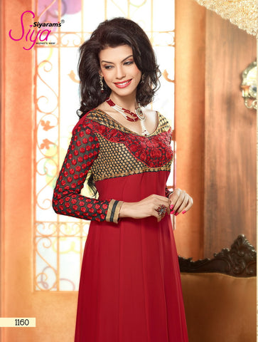 Zareena: Wonderful Semi-stitched Salwar Kameez In Red - 4189 - atisundar - 3
