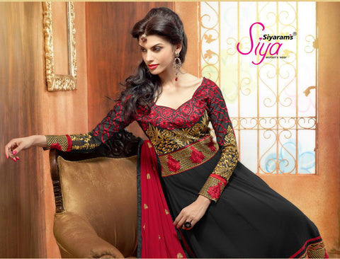 Zareena: Magnificent Semi stitched Salwar Kameez In Black and Red - 4191 - atisundar - 3 - click to zoom