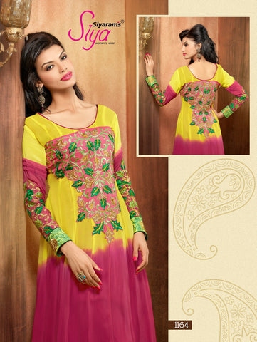 Zareena:Smart Embroidered Anarkali Style Yellow Semi stitched Salwar Kameez  - 4193 - atisundar - 3