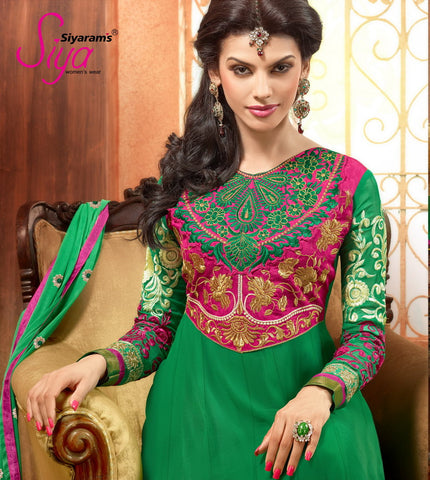 Zareena:Resplendent Embroidered Anarkali Green semi stitched Salwar Kameez By atisundar - 4194 - atisundar - 4