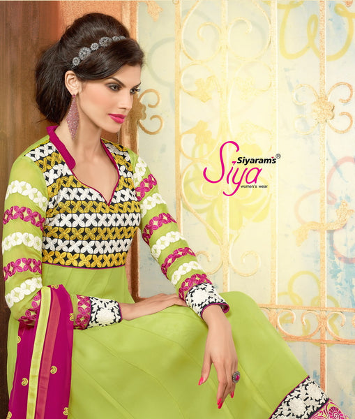 Zareena:Delicate Semi Stitched Salwar Kameez In Green - 4199 - atisundar - 3 - click to zoom
