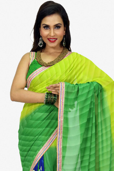 Designer Saree:atisundar fascinating Designer Party Wear Saree in Green  - 13221 - click to zoom