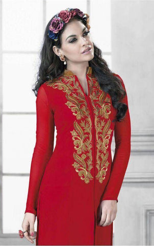 Designer Embroidered Tops:atisundar Alluring Faux Georgette Designer Embroidered Party wear Top in Red - 9635 - atisundar - 3