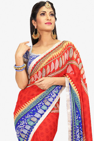 Designer Saree:atisundar delightful Designer Party Wear Saree in Red And Blue  - 13224