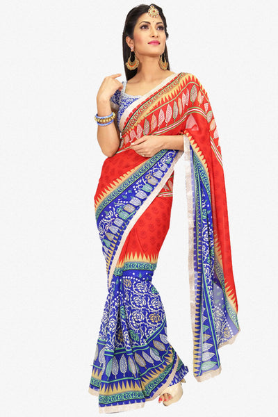 Designer Saree:atisundar delightful Designer Party Wear Saree in Red And Blue  - 13224 - click to zoom