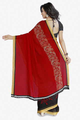 Designer Saree:atisundar cute Designer Faux Georgette Saree in Red  - 12280 - atisundar - 5