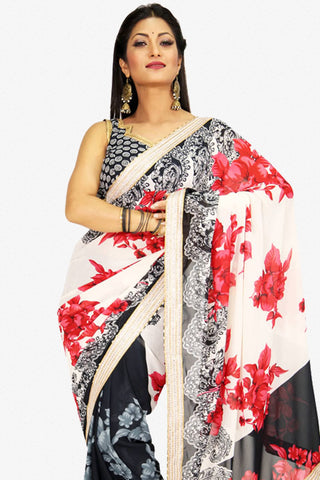 Designer Saree:atisundar elegant Designer Party Wear Saree in Cream And Black  - 13227