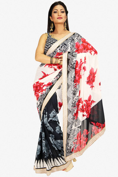 Designer Saree:atisundar elegant Designer Party Wear Saree in Cream And Black  - 13227 - click to zoom