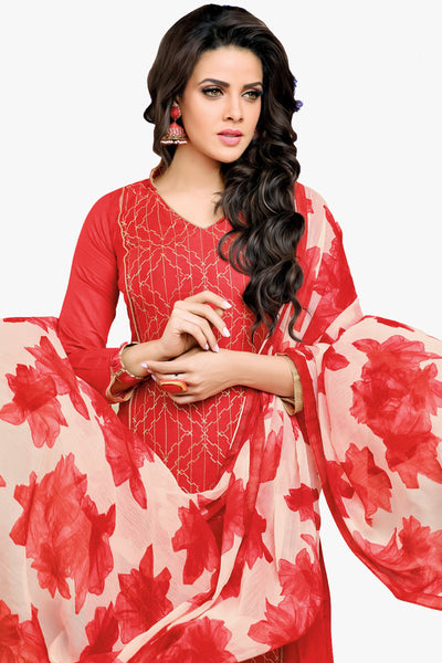 Designer Straight Cut:atisundar superb Red Designer Straight Cut Suit In Chanderi Cotton - 10470 - click to zoom