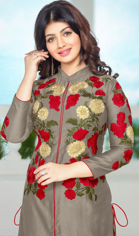 The Ayesha Takia Collection:atisundar classy Grey Embroidered Designer Straight Cuts in Cambric Cotton Featuring Ayesha Takia - 10119 - atisundar - 4