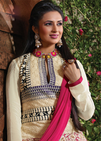 The Divyanka Tripathi Collection:atisundar Lovely Off White Designer Straight Cut  - 6829 - atisundar - 3