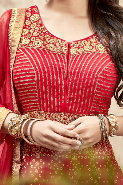 Designer Anarkali:atisundar refined Red Designer Embroidered Anarkali in Faux Georgette Featuring Mouni Roy - 11641 - atisundar - 4 - click to zoom