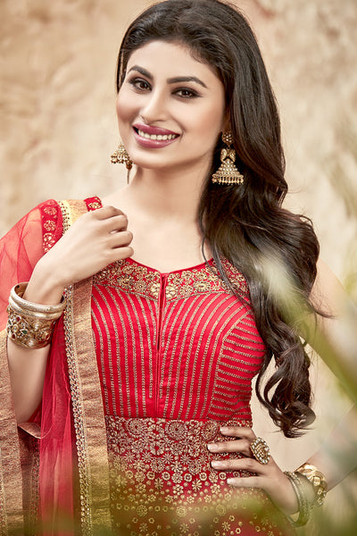 Designer Anarkali:atisundar refined Red Designer Embroidered Anarkali in Faux Georgette Featuring Mouni Roy - 11641 - atisundar - 6 - click to zoom