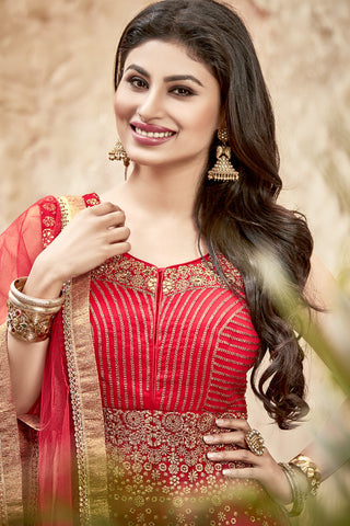 Designer Anarkali:atisundar refined Red Designer Embroidered Anarkali in Faux Georgette Featuring Mouni Roy - 11641 - atisundar - 6