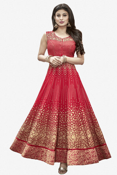 Designer Anarkali:atisundar refined Red Designer Embroidered Anarkali in Faux Georgette Featuring Mouni Roy - 11641 - atisundar - 1 - click to zoom