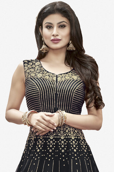 Designer Anarkali:atisundar bewitching Black Designer Embroidered Anarkali in Faux Georgette Featuring Mouni Roy - 11643 - click to zoom