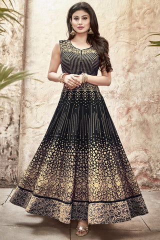 Designer Anarkali:atisundar bewitching Black Designer Embroidered Anarkali in Faux Georgette Featuring Mouni Roy - 11643 - atisundar - 3 - click to zoom