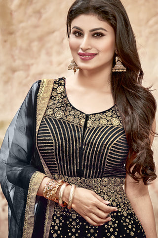 Designer Anarkali:atisundar bewitching Black Designer Embroidered Anarkali in Faux Georgette Featuring Mouni Roy - 11643 - atisundar - 5 - click to zoom