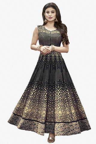 Designer Anarkali:atisundar bewitching Black Designer Embroidered Anarkali in Faux Georgette Featuring Mouni Roy - 11643 - atisundar - 1 - click to zoom