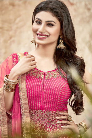 Designer Anarkali:atisundar appealing Pink Designer Embroidered Anarkali in Faux Georgette Featuring Mouni Roy - 11644 - atisundar - 6