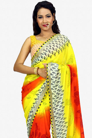 Designer Saree:atisundar wonderful Designer Party Wear Saree in Yellow  - 13238