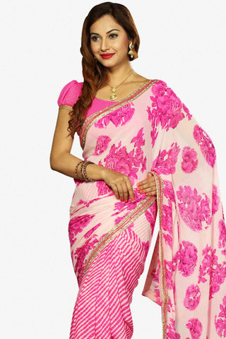 Designer Saree:atisundar dazzling Designer Party Wear Saree in Pink  - 13239