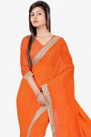 Designer Saree:atisundar fair Designer Party Wear Saree in Orange  - 13244