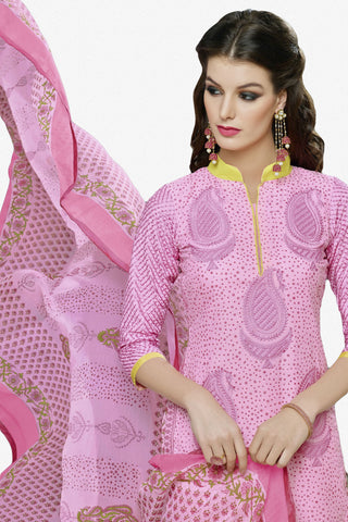 Designer Straight Cut:atisundar cute Pink Designer Party Wear Straight Cut in Faux Chanderi Cotton - 11945 - atisundar - 2 - click to zoom