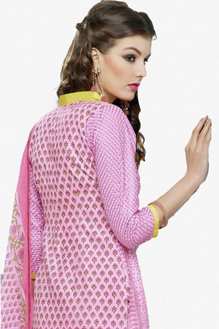 Designer Straight Cut:atisundar cute Pink Designer Party Wear Straight Cut in Faux Chanderi Cotton - 11945 - atisundar - 3 - click to zoom