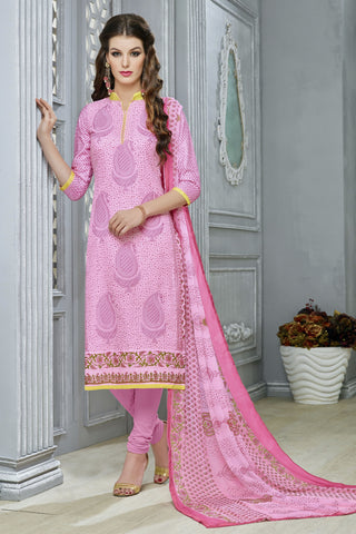 Designer Straight Cut:atisundar cute Pink Designer Party Wear Straight Cut in Faux Chanderi Cotton - 11945 - atisundar - 4 - click to zoom