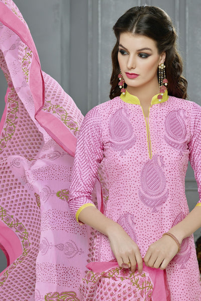 Designer Straight Cut:atisundar cute Pink Designer Party Wear Straight Cut in Faux Chanderi Cotton - 11945 - atisundar - 5 - click to zoom
