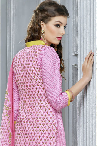 Designer Straight Cut:atisundar cute Pink Designer Party Wear Straight Cut in Faux Chanderi Cotton - 11945 - atisundar - 6