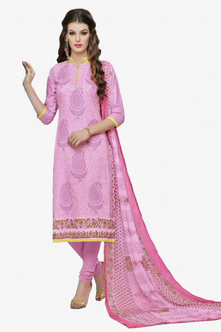 Designer Straight Cut:atisundar cute Pink Designer Party Wear Straight Cut in Faux Chanderi Cotton - 11945 - atisundar - 1 - click to zoom