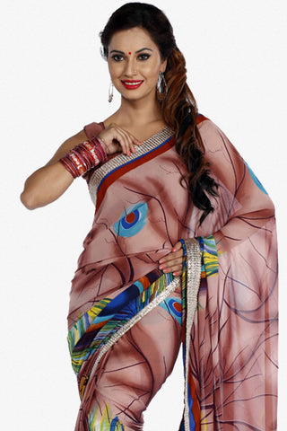 Designer Saree:atisundar superb Designer Party Wear Saree in Brown  - 13247