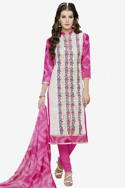 Designer Straight Cut:atisundar Superb White And Pink Designer Party Wear Straight Cut in Faux Chanderi Cotton - 11948 - atisundar - 1 - click to zoom