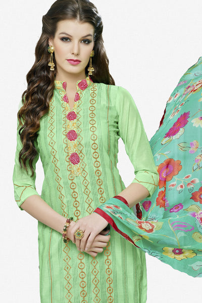 Designer Straight Cut:atisundar exquisite Green Designer Party Wear Straight Cut in Faux Chanderi Cotton - 11949 - click to zoom