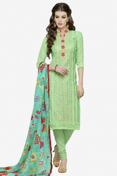 Designer Straight Cut:atisundar exquisite Green Designer Party Wear Straight Cut in Faux Chanderi Cotton - 11949 - atisundar - 1 - click to zoom