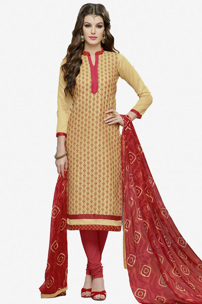 Designer Straight Cut:atisundar admirable Beige Designer Party Wear Straight Cut in Faux Chanderi Cotton - 11950 - atisundar - 1 - click to zoom