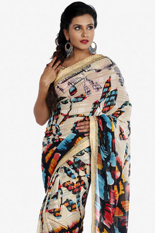 Designer Saree:atisundar dazzling Designer Party Wear Saree in Multi  - 13250