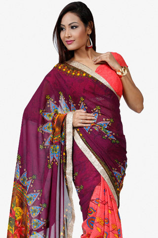 Designer Saree:atisundar dazzling Designer Party Wear Saree in Peach And Purple  - 13251