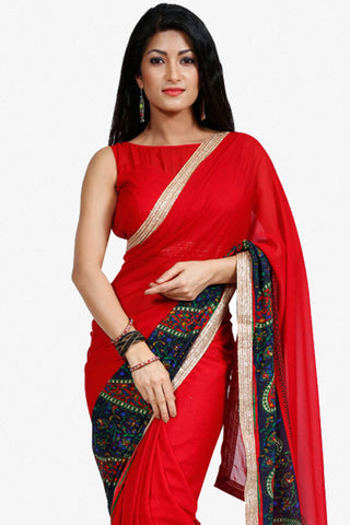 Designer Saree:atisundar classy Designer Party Wear Saree in Red  - 13252