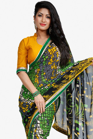 Designer Saree:atisundar resplendent Designer Party Wear Saree in Green And Yellow  - 13254