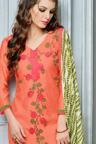 Designer Straight Cut:atisundar Great Peach Designer Party Wear Straight Cut in Faux Chanderi Cotton - 11955 - atisundar - 4