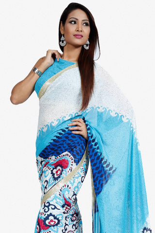 Designer Saree:atisundar wonderful Designer Party Wear Saree in White And Blue  - 13255