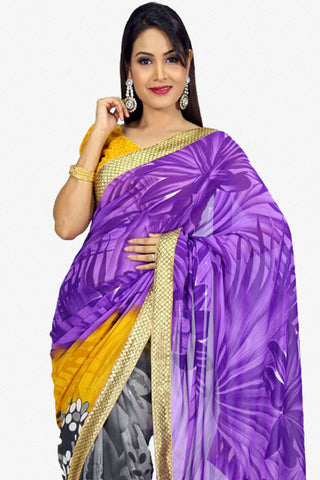 Designer Saree:atisundar superb Designer Party Wear Saree in Purple And Black  - 13257