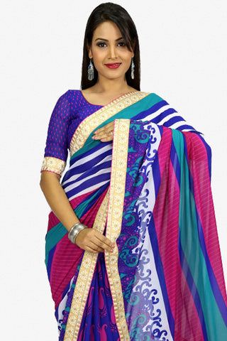 Designer Saree:atisundar Smart Designer Party Wear Saree in Blue  - 13259