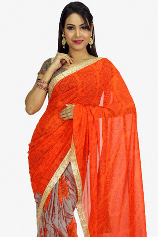 Designer Saree:atisundar Beautiful Designer Party Wear Saree in Orange And Grey  - 13260