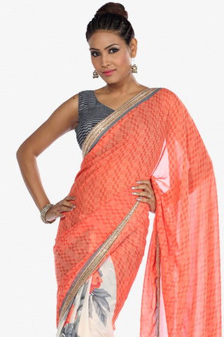 Designer Saree:atisundar Charismatic Designer Party Wear Saree in Orange And White  - 13261